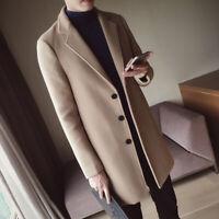 Men's Classic Woolen Blend Overcoat Long Jacket Lapel Coat Parka Outwear Trench