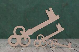 Mdf wooden keys craft shapes, ideal for Santa keys, 21st Birthdays (3mm thick)