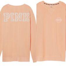 Victoria's Secret PINK Sweatshirt Campus Crew Pullover LOVE PINK Desert Gold XS