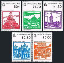 Hong Kong 606-610,MNH.Historic Landmarks.Buddha,Pavilion,Clock Tower,Temple,1991