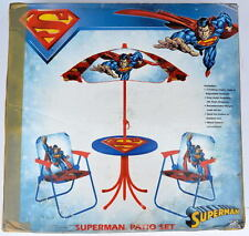 SUPERMAN PATIO SET Metal Construct 2 Folding CHAIRS, TABLE, Adjustable UMBRELLA