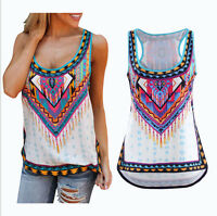 Womens Summer Chiffon Print Vest Tops Tank Sleeveless Shirt Blouse Size 6-16 #03