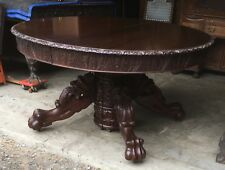 """54� Carved Mahogany Dining Table, With 3-11"""" Leaves"""
