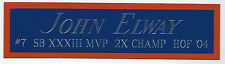 JOHN ELWAY BRONCOS NAMEPLATE FOR AUTOGRAPHED SIGNED FOOTBALL JERSEY PHOTO HELMET