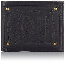 JACK DANIEL S Bifold Leather Patch Wallet with Engraved Classic Logo, Black