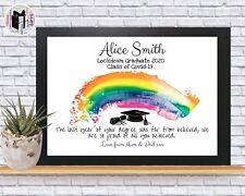 Graduate Graduation Lockdown Print Rainbow Personalised Gift Class Of 2020