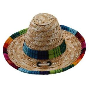 Colorful Pet Straw Hat Dog Cat Mexican Straw Cap Sombrero Adjustable Buckle CZ