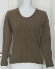 Peck & Peck Women Sweater Sz XL Brown 100% Pure Cashmere Scoop Neck Long Sleeves