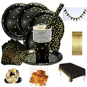 Black&gold TABLEWARE SET DINNERWARE PARTY DECORATIONS BIRTHDAY WEDDING HEN PARTY
