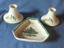Pair Vintage SPODE Candlesticks Holders & Matching Dish Christmas Tree Pattern