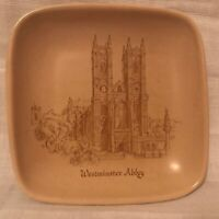 "Westminister Abbey Pin Dish by Honiton of England Coin Tray 4 3/8"" Square Beige"
