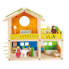 Hape Happy Villa Wooden Kids Toy Family House Dollhouse w/ Dolls and Furniture