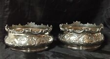 More details for elegant pair of old sheffield silver plated wine bottle coasters