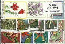 """Lot 100 timbres thematique """" Fleurs"""""""