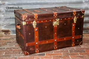 Antique english handmade leather coffee table trunk leather chests gift item