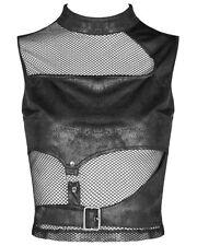 Punk Rave Womens Dieselpunk Gothic Fishnet Tank Top Vest Black Apocalyptic Cyber