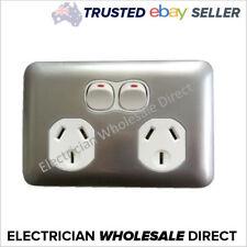 Slim Wafer Double Power Point GPO White Silver Bakelight Slimline Electrical