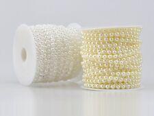 5 Meters Acrylic Flatback Pearl Bead 6mm Chain Garland Trims Wedding Bouquet