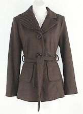 Miss Posh Sz M Brown Removable Ribbed Collar Belted Wool Poly Lined Jacket G168