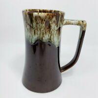 "6"" Vintage Art Pottery Dark Brown Drip Mug Set of 2"