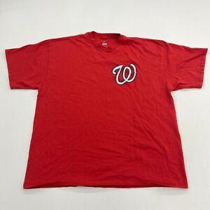 Majestic T-Shirt Mens 2XL XXL Red Washington Nationals Trea Turner # 7 Baseball