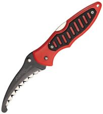 Imperial Schrade Rescue Lockback Knife Red Black Handle Scalloped Edge 0022CP