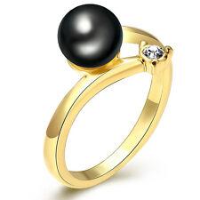 Oro Perla Nera Ondulato misura media da donna da sera diametro dell'anello 17.5