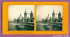 VUE STÉRÉO EXPO UNIVERSELLE 1900 PARIS : QUAI DES NATIONS, BATEAU-MOUCHE-G102