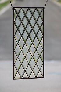 "•Diamond• Beveled Stained Glass Window  Sidelight /Transom25 1/2"" x 12 7/8"