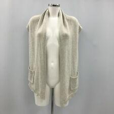Hush Womens Knitted Waistcoat Size S/M UK 10-12 Beige Sleeveless Cardigan 290687