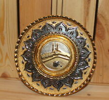 Islamic folk hand made ornate brass wall hanging plate cityscape