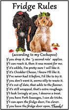 "Cockapoo Dog Gift - Large Fridge Rules flexible Magnet 6"" x 4"""