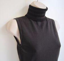 GC Fontana 100% Merino Wool Sleeveless Brown Black Turtleneck Sweater Size 38