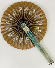 Antique Victorian Edwardian Orientalia Ladies Round Floral Cloth Velvet Hand Fan