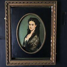 TABLEAU PORTRAIT MÉDAILLON IMPÉRATRICE EUGÉNIE/ Oval framed portrait