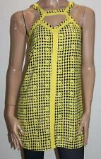 Mika & Gala Designer Yellow Check Print Sleeve Day Dress Size 6 BNWT #sl26