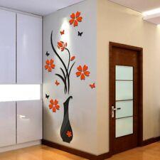 DIY Vase Flower Tree Crystal Arcylic 3D Wall Stickers Decor Large Size 60x140cm