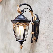 European Style Black Gold Metal Lantern Clear Glass Outdoor Garden Wall Lights