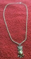 """gold tone pewter hoot owl with plated 14K 24"""" rope necklace"""