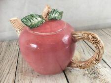 "Ceramic Apple Teapot Papel Freelance Cs 7"" high Lid Stem Red Green Brown"