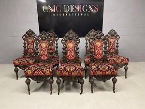 Wonderful set 8/14 beautiful Antique Oak Charles II style chairs French polished