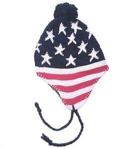 USA winter hat knit beanie pom pom striped warm cap American flag decal