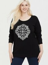 Torrid Black Mandala Print Tunic Sweatshirt Crew Neck Ribbed Womens Sz 2X 18/20