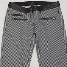 NEW H&M Sz 8 Pants Womens Striped FAUX LEATHER Trim Zip Pockets SKINNY Low Rise