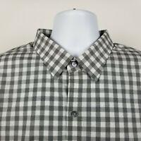 Zachary Prell Mens Gray Gingham Check Dress Button Shirt Size 2XL XXL