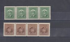 #263 & 264 War Issue coils strips of 4 VF  MNH Cat $30 Canada mint