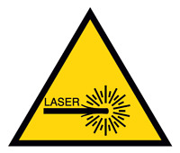 ADESIVO segnaletica PERICOLO RAGGI LASER 120x120 mm.
