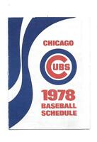 1978 Chicago Cubs Tri-Fold Pocket Schedule Old Style Beer