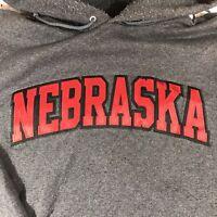 Vintage Champion USA Nebraska Spell Out Logo Hoodie Sweatshirt Grey | XL X Large