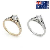18K White / Rose Gold GP Lab Diamond Crystal Wedding  Engagement Ring Size 6-9